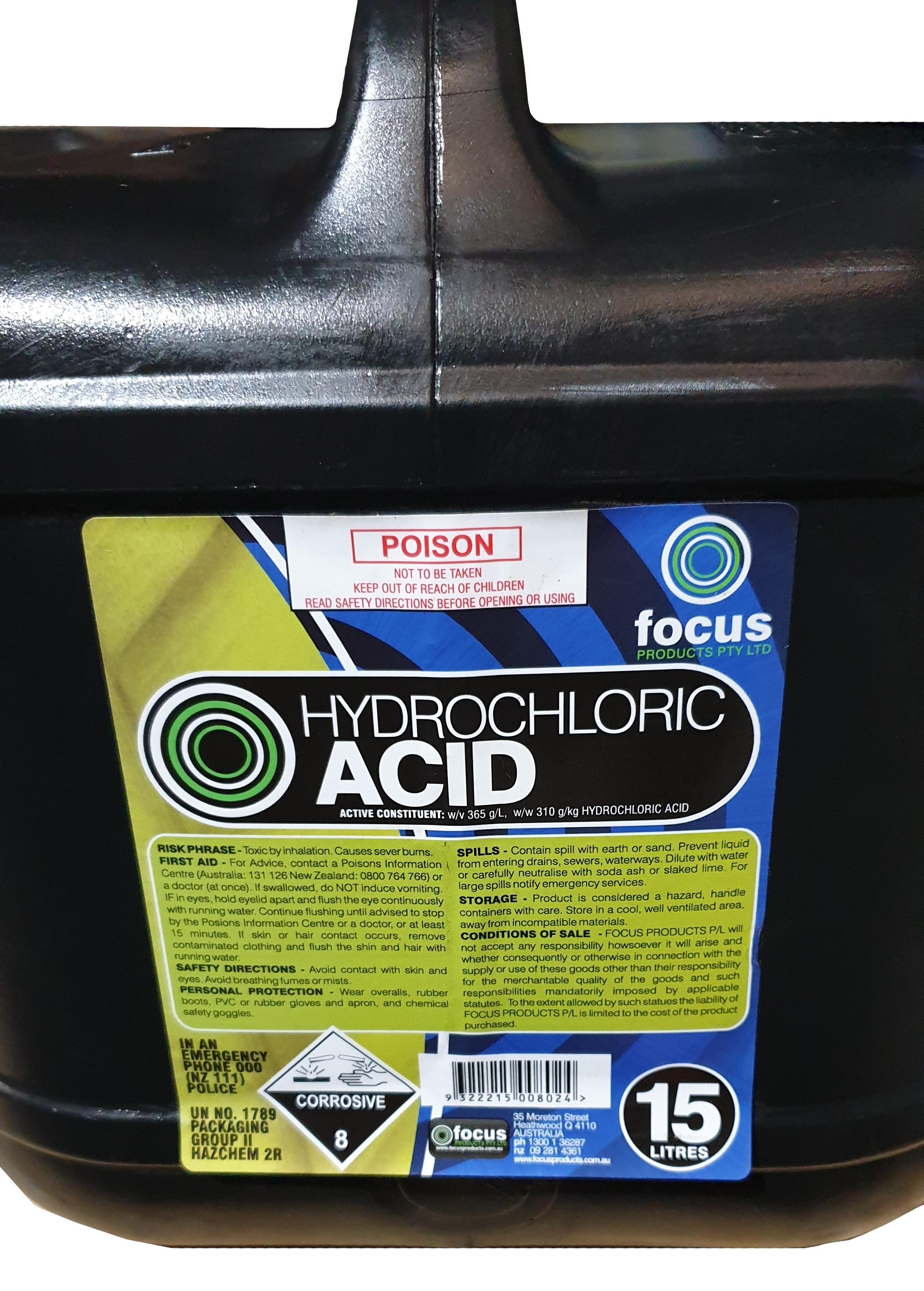 Full Strength Hydrochloric Acid 15L